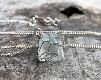 Green Fluorite Crystal Necklace - Solid Sterling Silver - Raw Fluorite Octahedron Crystal - Long Layering Necklace