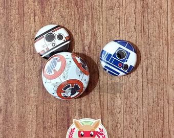 Droids pinback button set     Star Wars BB8 R2D2 badges pin