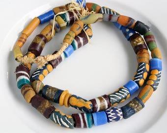 52 African Glass Beads - Rustic Tribal Organic - Jewelry Making Supplies, Tribal Boho Crafting, Jewelry Making Supplies