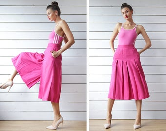 Vintage fuchsia pink pleated high waist wide leg palazzo short capris culottes skirt short pants XS