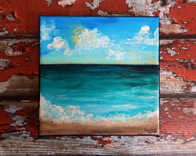 Seascape Canvas Art | Coastal Painting | Ocean Art | Beach Decor | 10x10 | Tranquility | Saltons Cove Studio