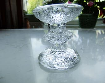 Vintage Festivo glass candle holder by Iittala Finland - Timo Sarpaneva design - One ring