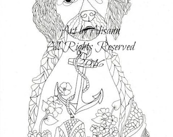 American Water Spaniel Puppy - Love Dogs - Coloring Page with Doodles - Instant Download