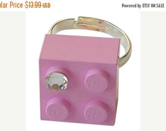 ON SALE Light Pink LEGO (R) brick 2x2 with a Diamond color Swarovski crystal on a Silver/Gold plated adjustable ring finding