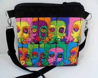 Modern Art crossbody bag with zipper closure, quilted I pad, Kindle table sling purse in funky print