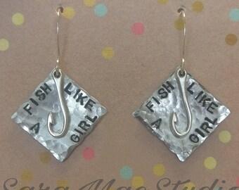 Fish like a girl, Stamped Earrings