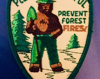 """Vintage Sew-On Patch: Smoky the Bear  """"Prevent Forest Fires"""""""