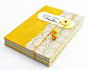 Little Book of Smiles yellow coptic journal with envelopes / Eco friendly journal / hand stitched book / recycled journal / unique gift