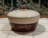 Vintage Oxford Stone Ware / Brownie Snowdrop / Snow Drop Pattern / Small Lidded / Covered Casserole Baking Dish
