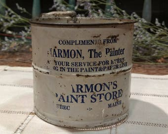 Rare, Antique, Tin, Flour Sifter with Wooden Handle from Lubec, Maine / Advertisement / Promotional / Harmon's Paint Store / Two- Cup