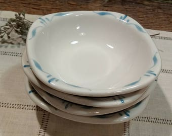 Vintage Set of Four Syracuse China Small Bowls / Normandy Pattern (?) / Turquoise Blue and White