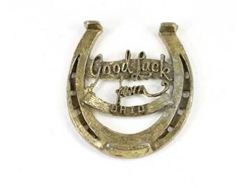 Good Luck from Ohio Vintage Souvenir Lucky Horse Shoe