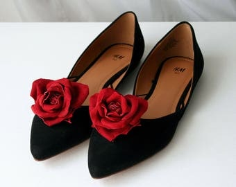 Red Leather Heart Rose Flower Shoe Clips