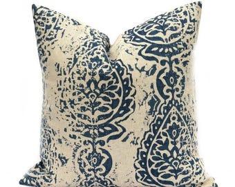 15% Off Sale Navy Pillow Cover - Tan Pillow - Decorative Pillow - Navy Tan pillow - Accent Pillow - Throw pillows - Blue Pillow - Beige Pill