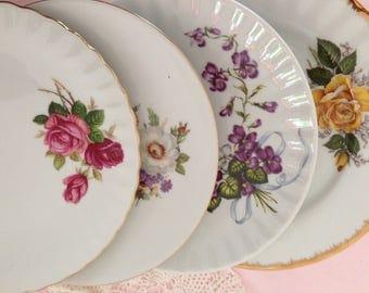 Vintage mismatched china plates bridal shower vintage wedding