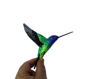 Paper machè art Bird Sculpture Hummingbird Ornaments Home decor