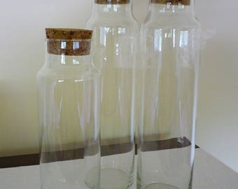 Set of 3 Vintage Glass Apothecary Storage Jars with Cork Lids, Libbey Innkeeper Jars