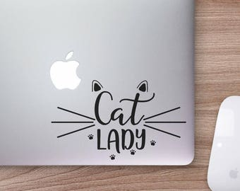 Cat Lady Decal, Cat Decal, Cat Lady, Car Decal, Laptop Decal, Cat Whiskers, Kitty Decal, Vinyl Decal