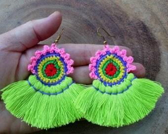 50% OFF Neon Apple Earrings,Neon Tassel Earrings, Handmade Crochet Earrings, Neon Tassel Earrings, Wholesale Jewelry, Earrings Handmade E073