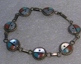"Vintage Sterling Zuni Sun Bracelet,  Turquoise/Coral/Onyx, MOP, 6.75"", 8.07 gr."