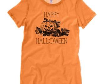 Happy Halloween PUMPKIN Ladies T-Shirt