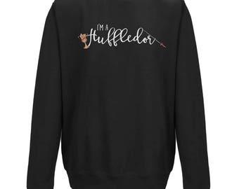 I'm A HUFFLEDOR Unisex GREY JUMPER | Harry Potter Gift | Mixed Hogwarts Houses