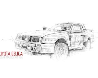 Toyota Celica Rally Car - Original A3 Pencil Sketch