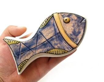 Clay fish sculpture, Blue fish, Ceramic fish, Small ceramic fish, Wall fish sculpture, Pottery fish, Abstract fish sculpture, Unique fish