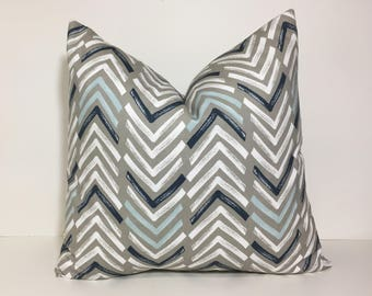 Navy white taupe pillow cover. Blue and white Chevron print pillow cover.  Sofa pillow cover, home decor throw pillows