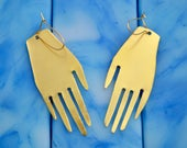 Hand Earring No. 1 - Large, Brass, Matisse, Frida Khalo, Minimal, Cut Out, Statement Earrings
