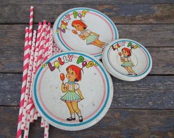 Tin Toy Plates, Tea Set Plates, Tin Litho Toys, Lolly Pop, Tea Party, Play Dishes, Vintage Toy Dishes