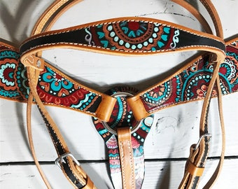 Custom Painted Horse Tack Set - Western Headstall and Breast Collar