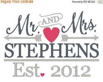 25% OFF MR & MRS Arrows Wedding Embroidery Design - Instant Download