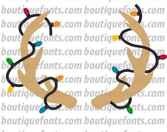 ON SALE Antler Lights Monogram Frame SVG Cut File - Instant Download