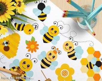 Clipart - Bumble Bees - Honey Comb / Bee Hive - Digital Clip Art (Instant Download)