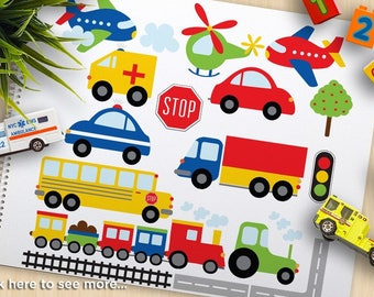 Trains, Planes and Trucks Clipart, Transportation, primary colors, railroad, tractor, cars, Commercial Use, vector clipart, SVG Cut Files