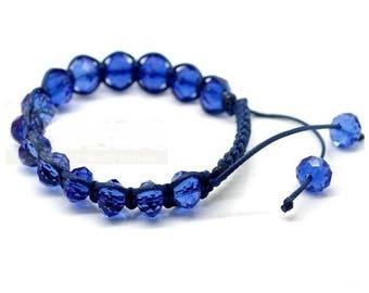 Adjustable Shamballa bracelet blue glass beads