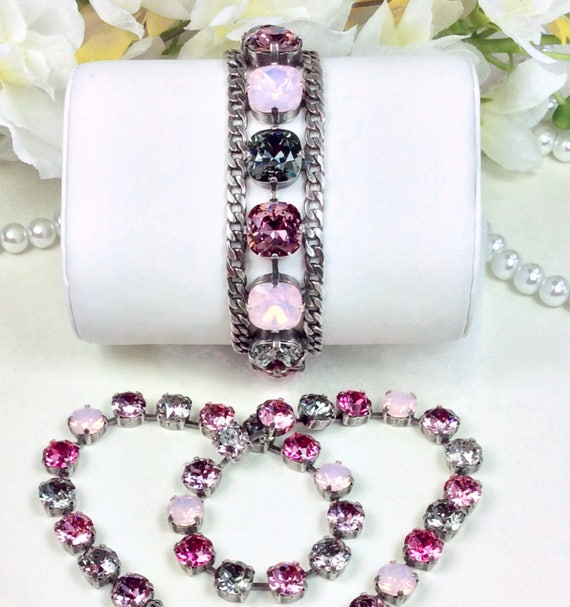 Swarovski Crystal 12MM Cushion Cut CUFF Bracelet, Necklace, Earrings - Designer Inspired - Pre-Fall - Pinks & Grays - FREE SHIPPING