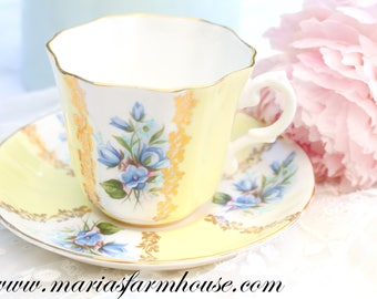 TEA CUP, Vintage, English Fine Bone China Tea Cup and Saucer by Royal Grafton, Little Princess Birthday Party, Replacement China