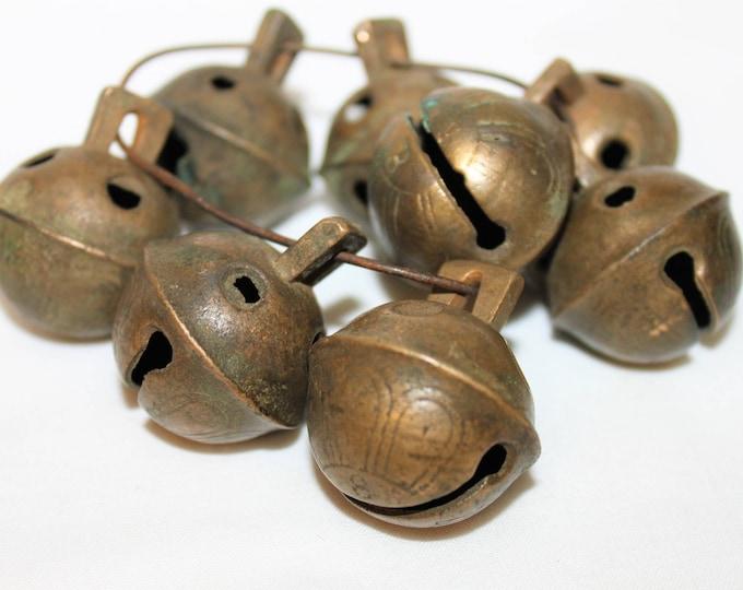 Antique Sleigh Bells, set of 8 No. 3 Solid Brass Sleigh Bells