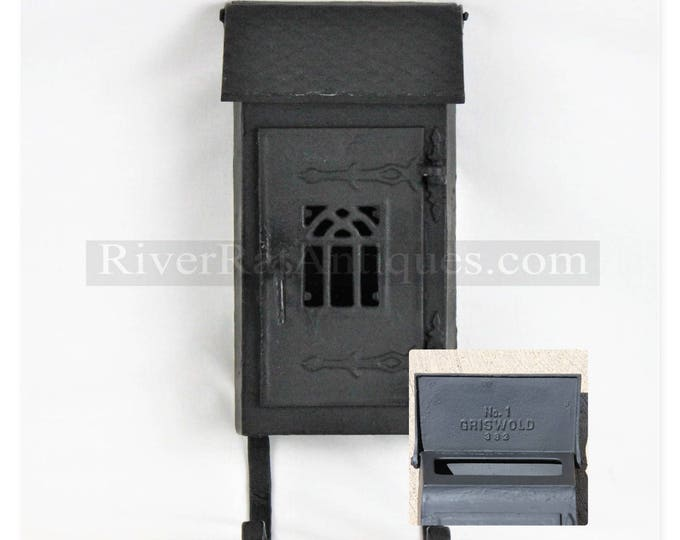 Rare 1890s Griswold No.1 Cast Iron Mailbox with Newspaper Holder