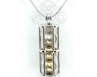 Lantern Tube Pearl Cage Pendant Necklace Charm Holds 4 Pearls Fairy Tube Locket Hold Multiple Pearls