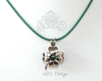 Four Leaf Clover Shamrock Pearl Cage With Green Pearl Cord Necklace Charm Pendant Lucky Charm