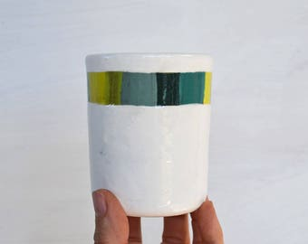 ON SALE ** Striped Cup - Ceramic Cup - Pottery Cup - Ceramic Tumbler