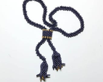 Bead Floral Necklace Purple Bead  Necklace Bead Lariat Necklace Bead Flower Necklace Beadwork Necklace Seed Bead Necklace Purple Lariat