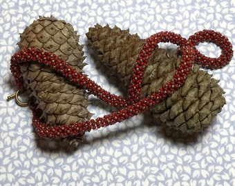 Beaded Rope Necklace Seed Bead Necklace Red Gold Necklace Beadwork Necklace Bead Woven Necklace Red Rope Necklace Bead Woven Rope