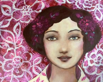 Romantic painting in pink and white Rosalie Jolie