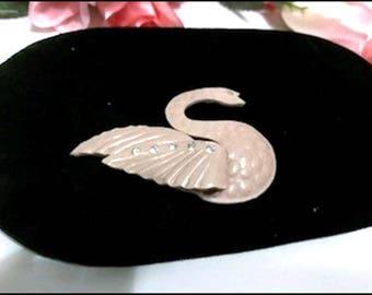 Darling Pinkish Beige Lucite Swan Brooch w a Rhinestone  Accent- Pin-2069a-071817005