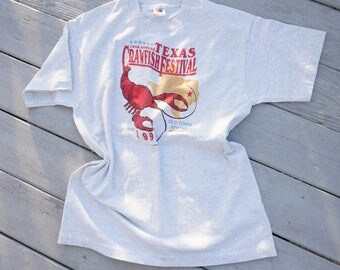 Free Shipping! 1996 Texas Crawfish Festival Tee Size XL, 1990s T-Shirt, Fruit of the Loom Shirt, Tourist Tee, Vintage T-shirt, Graphic Tee