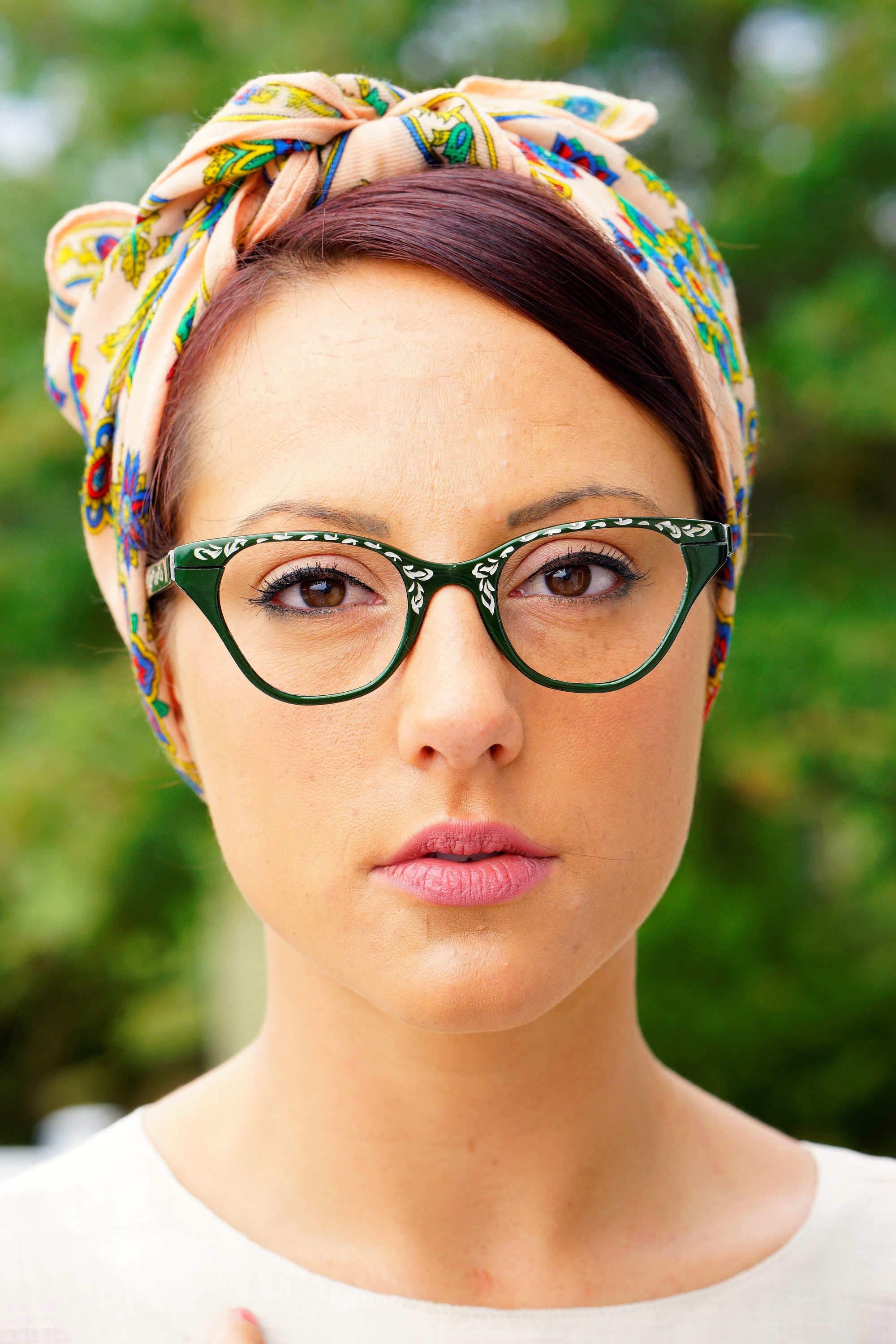 03014a8043 Vintage Cat Eye Glasses 1960 s Cateye Frames By Tura Made in USA Rare green  Toned With